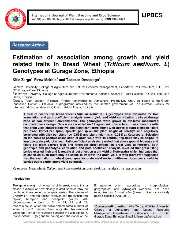Estimation of association among growth and yield related traits in Br…