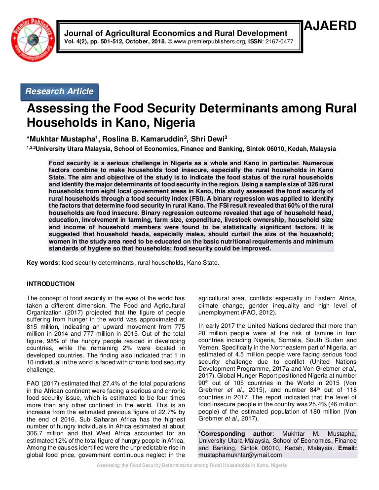 Assessing The Food Security Determinants Among Rural Households In Ka