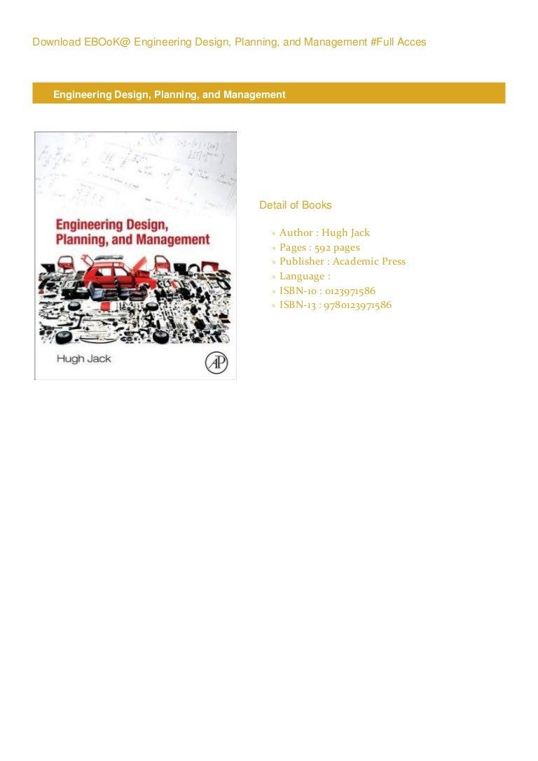 Pdf Engineering Design Planning And Management Pdf Online