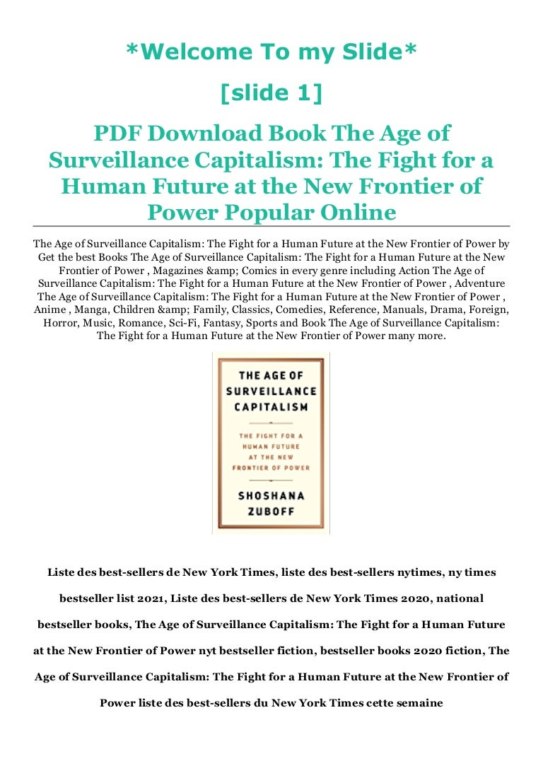 Free [PDF ePub ] The Age of Surveillance Capitalism: The Fight for a Human Future at the New Frontier of Power Free Membership Registration to Download By  *Full Page`s
