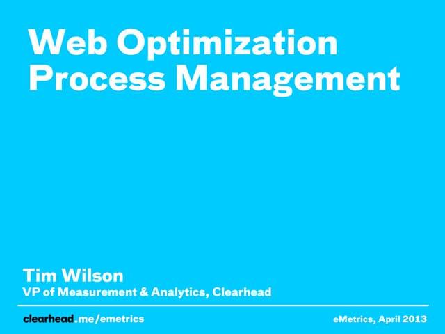 Web Optimization Process Management