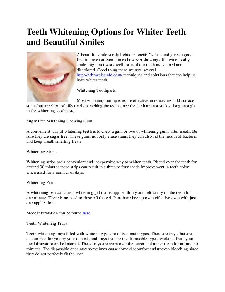 Teeth Whitening Options For Whiter Teeth And Beautiful Smiles