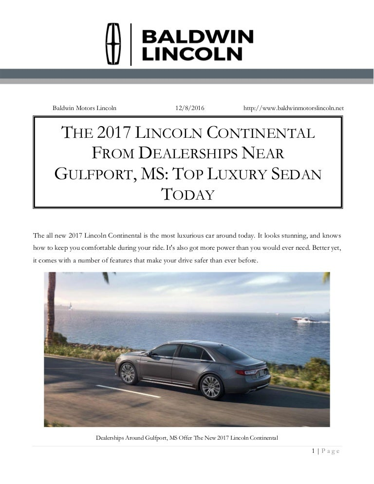 The 2017 Lincoln Continental From Dealerships Near Gulfport, MS: Top …