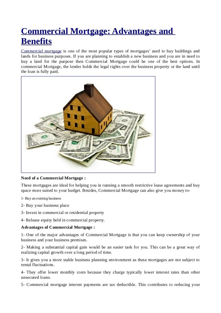 commercial mortgage advantages and benefits