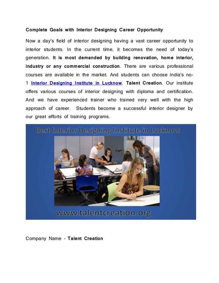 Talent Creation Offering Interior Designing Courses Opportunities In