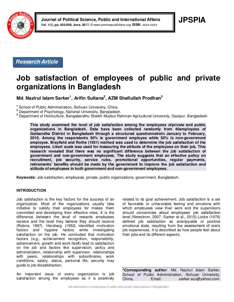 Research on Job Satisfaction