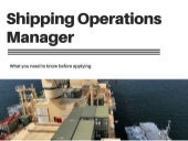 Shipping Operations Manager Overview