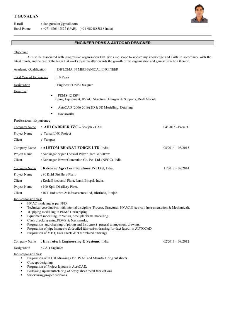 pdms autocad designer resume t gunalan