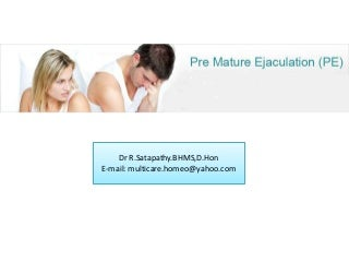 Homeopathic treatment for Premature Ejaculation