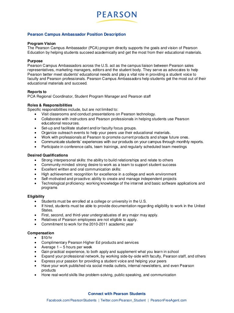 pearson campus ambassador job description