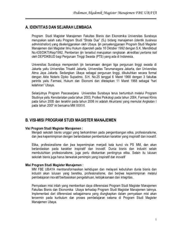 Pedoman Akademik Magister Management Ubaya