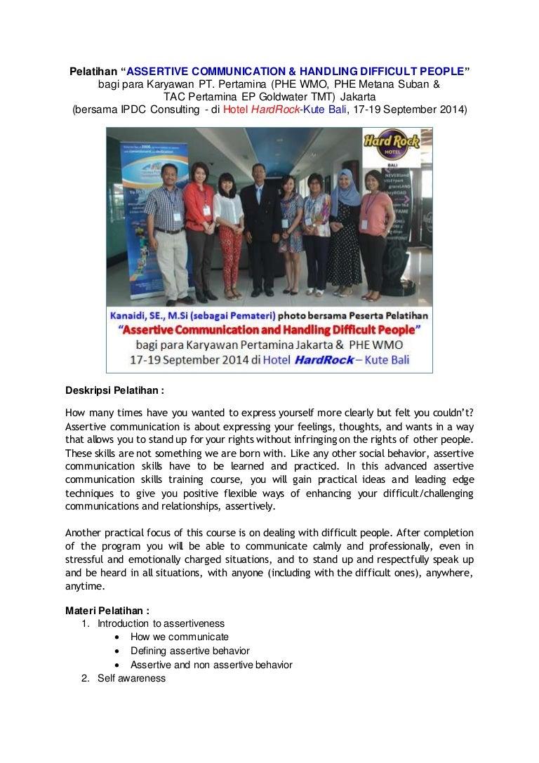 pengalaman kanaidi sebagai pemateri pelatihan assertive communicat