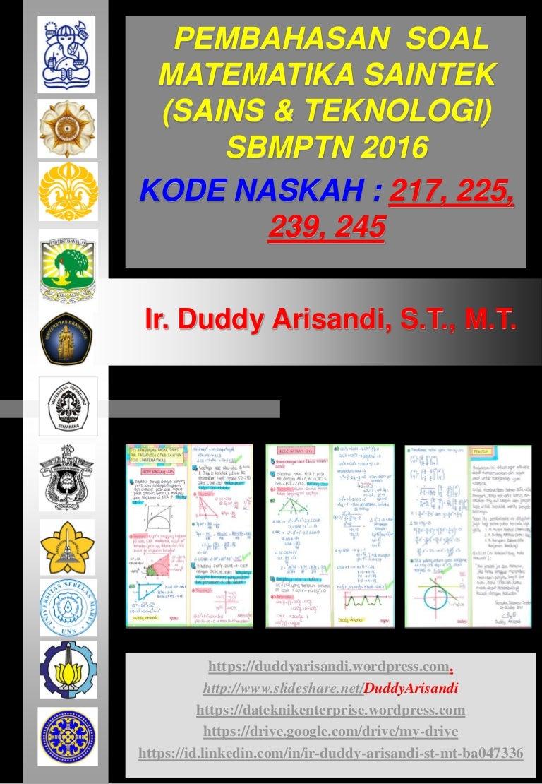 Pembahasan Soal Matematika Tkd Saintek Sbmptn 2016 Kode Naskah 217 22