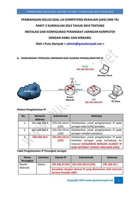 Pembahasan Soal Uji Kompentensi Keahlian (UKK) SMK TKJ Paket 2 Kurikulum 2013 Tahun 2019