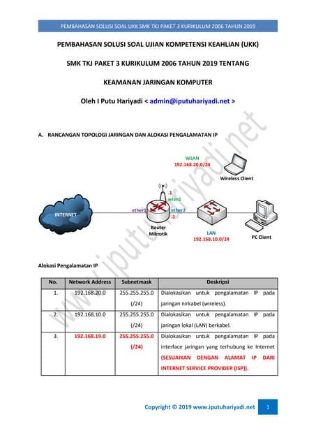 Pembahasan Solusi Soal UKK SMK TKJ Paket 3 Kurikulum 2006 Tahun 2019