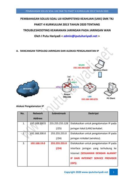 Pembahasan Solusi Soal UKK SMK TKJ Paket 4 Kurikulum 2013 Tahun 2020