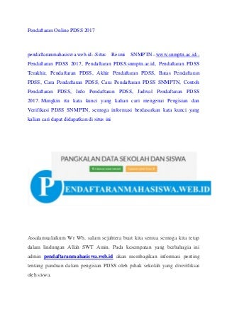 Pendaftaran online pdss 2017