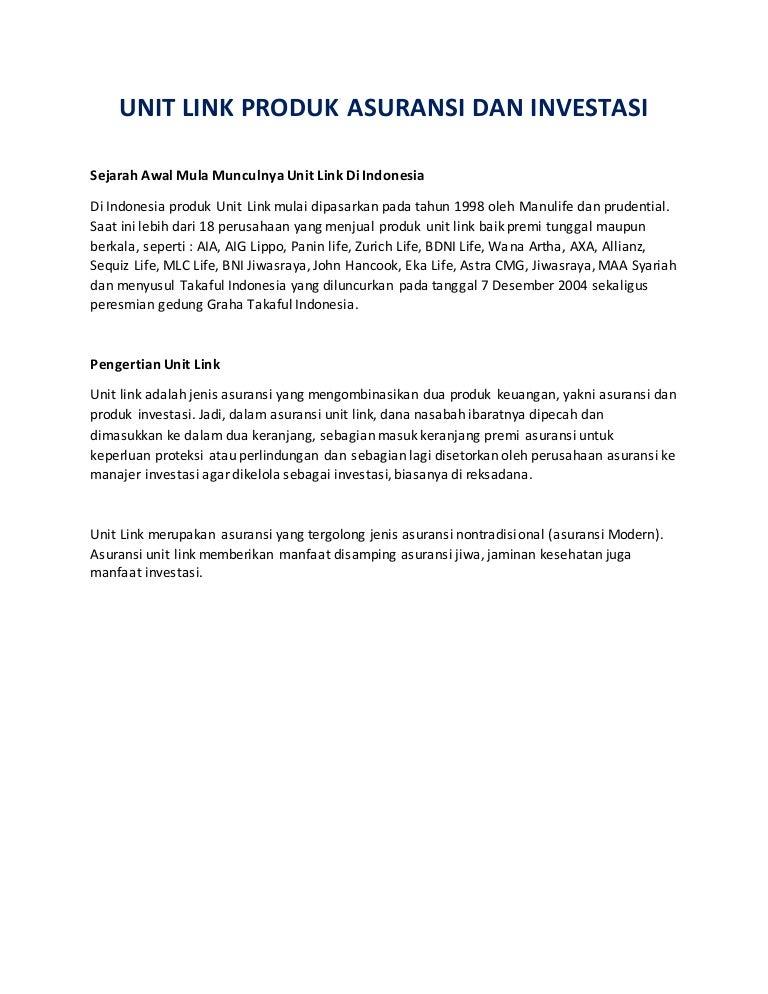 Pengertian Unit Link Dan Contohnya Tugas Kuliah Investasi Portofolio