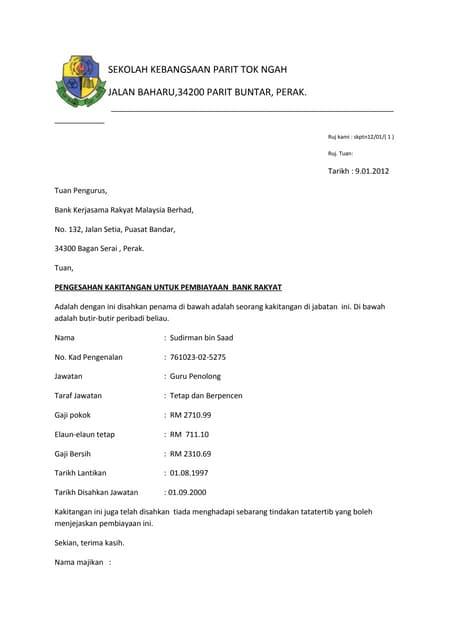 Contoh Format Surat Pengesahan Majikan 2