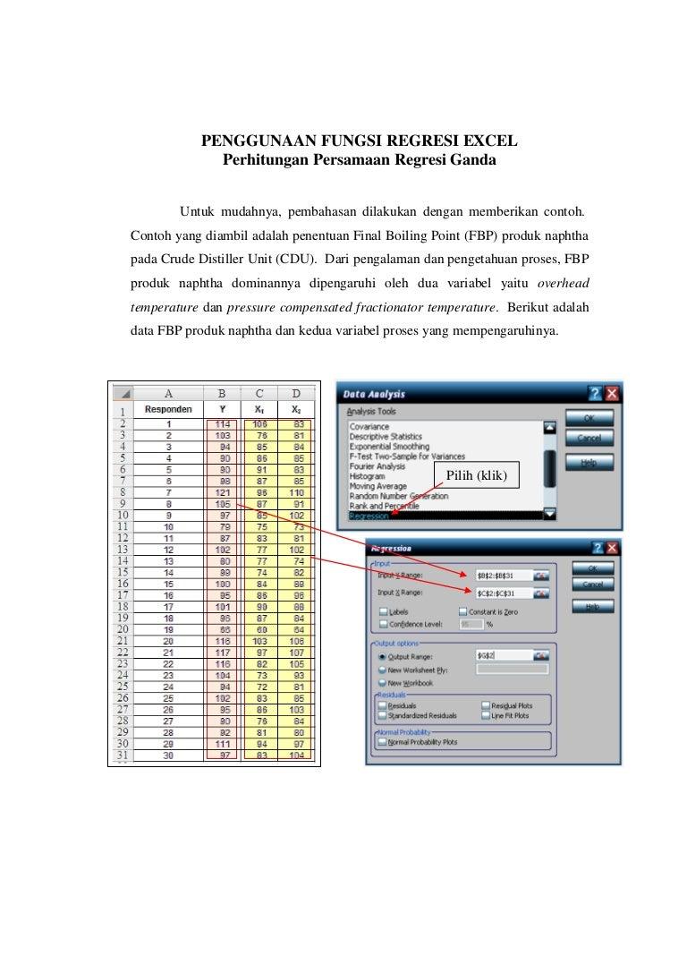 Penjelasan analisis regresi ms excel 2007