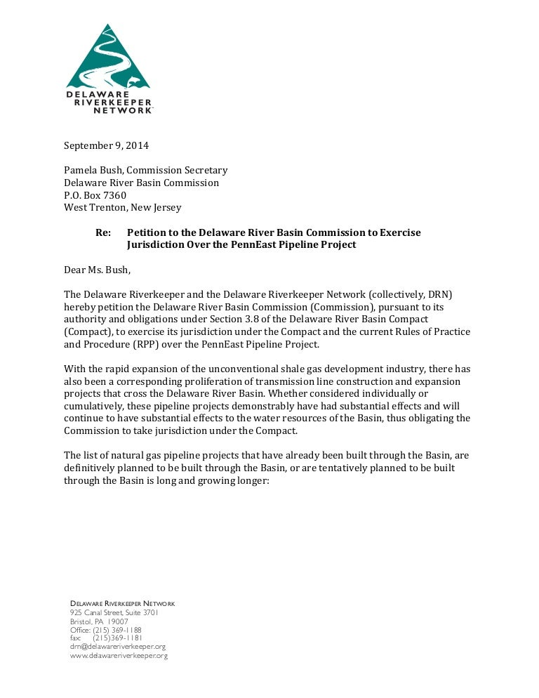 Delaware Riverkeeper Letter to DRBC Requesting Intervention