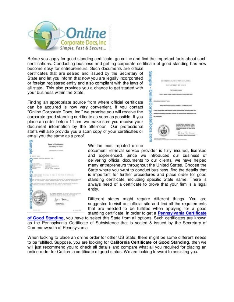 certificate pennsylvania standing business