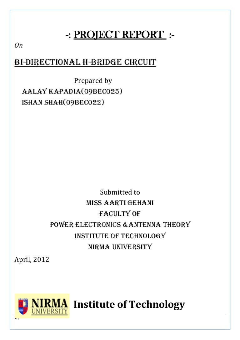Bi Directional H Bridge Circuit Project Diag