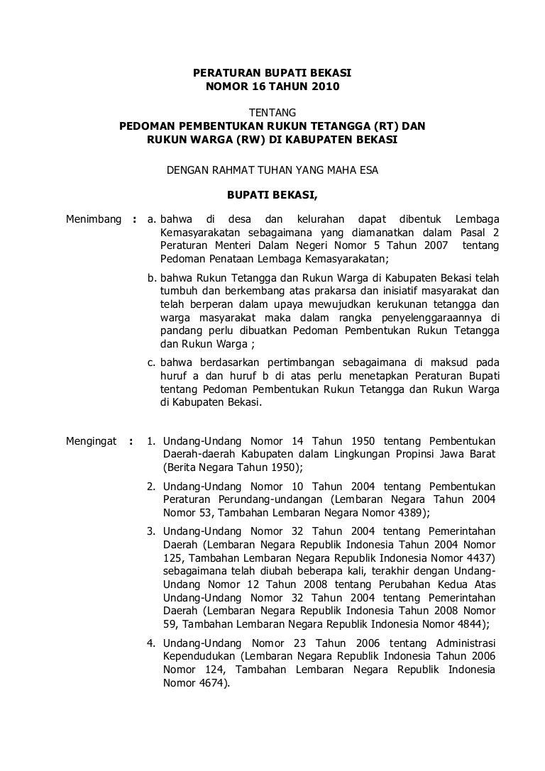 Peraturan Bupati Bekasi No 16 Tahun 2010 Tentang Pedoman
