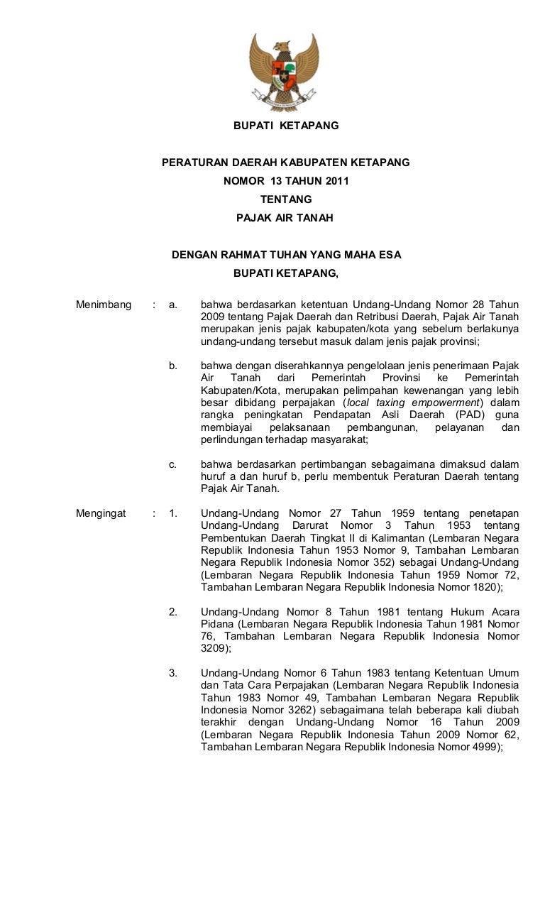 Peraturan Daerah Kabupaten Ketapang Nomor 13 Tahun 2011 Tentang Pajak