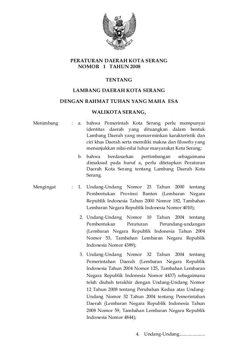 Peraturan Daerah Kota Serang Nomor 1 Tahun 2008 Tentang Lambang Daera