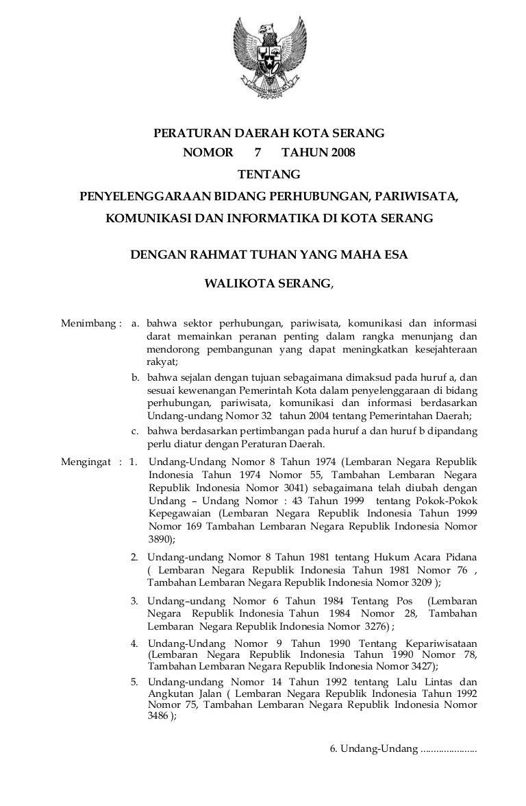 Peraturan Daerah Kota Serang Nomor 7 Tahun 2008 Tentang Penyelenggara