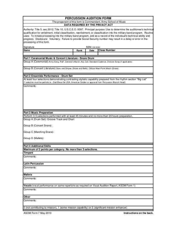 Army Bands Percussion Audition Form