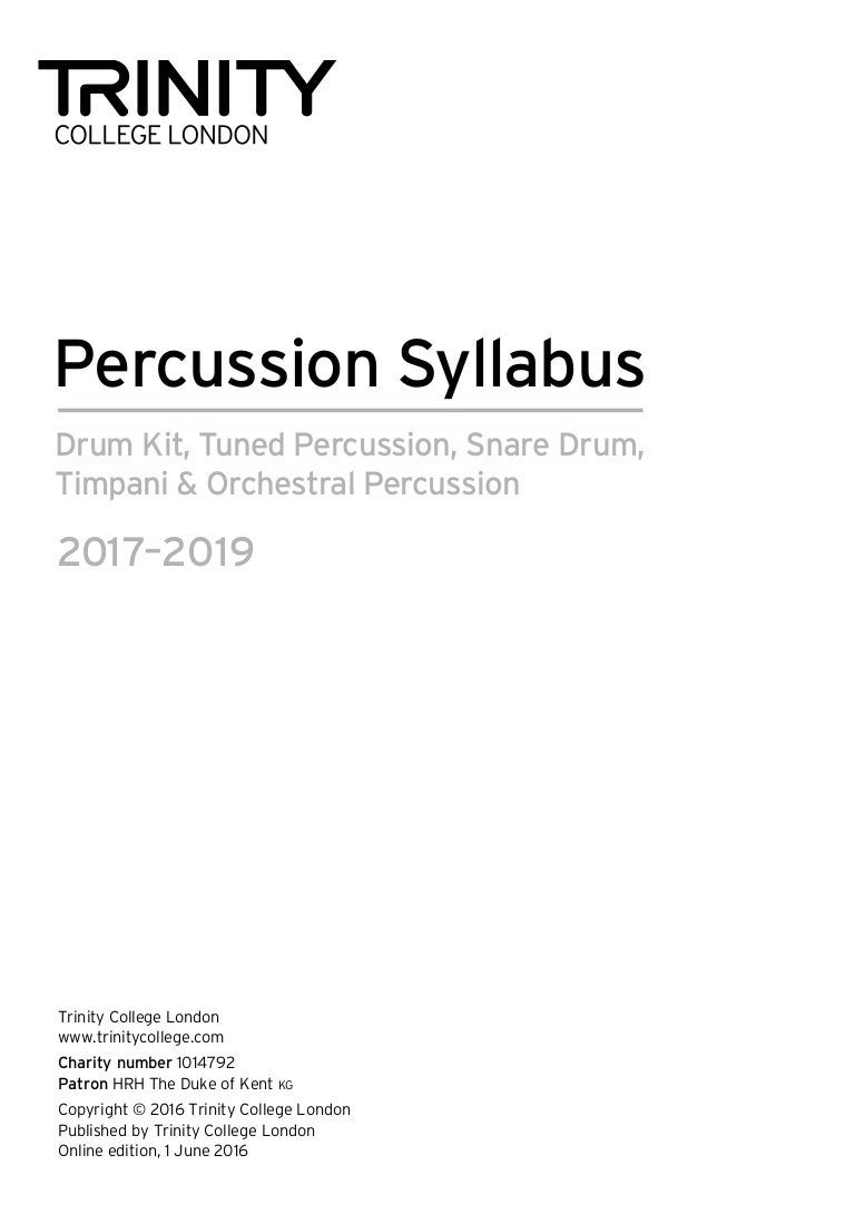 Percussion syllabus 2017 2019