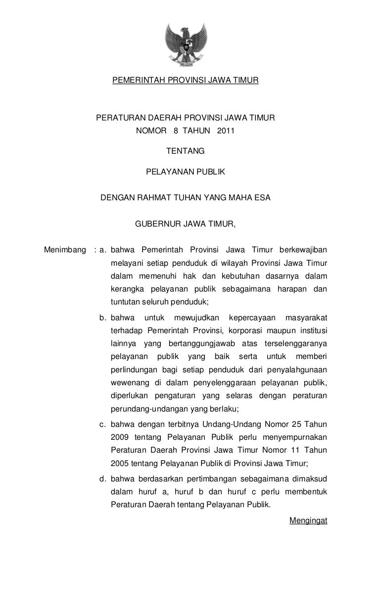 Peraturan Daerah Jawa Timur Nomor 08 Tahun 2011 Tentang Pelayanan Pub