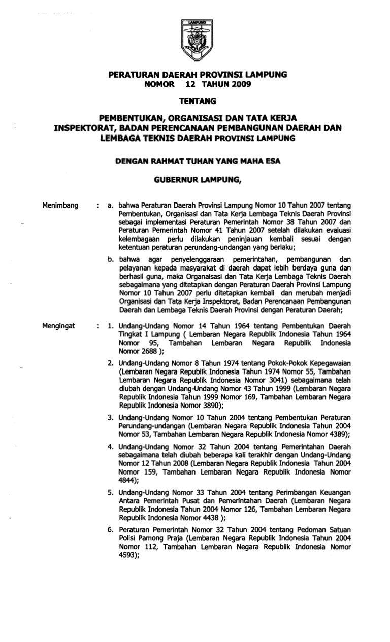 Perda Provinsi Lampung Nomor 12 Tahun 2009 Tentang Bappeda