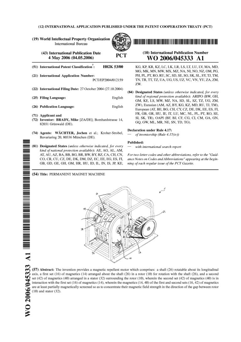 3c468f87d14 Perendev magnet motor patent wo2006045333 a1