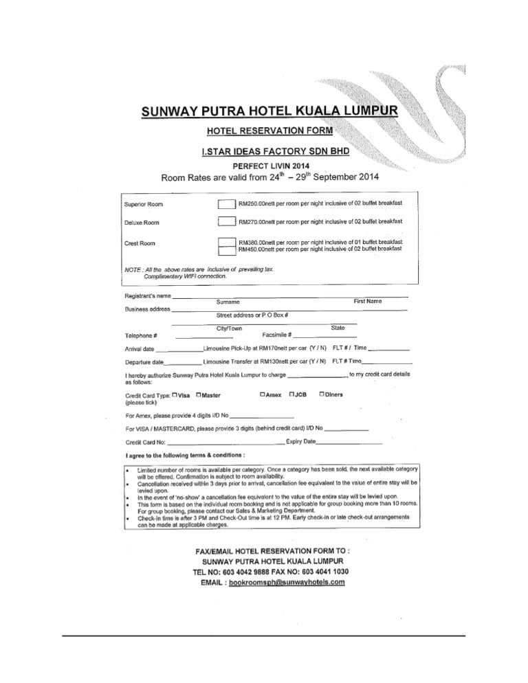 Hotel Reservation Form I.Star Ideas Factory Sdn Bhd Pefect Livin 2014…