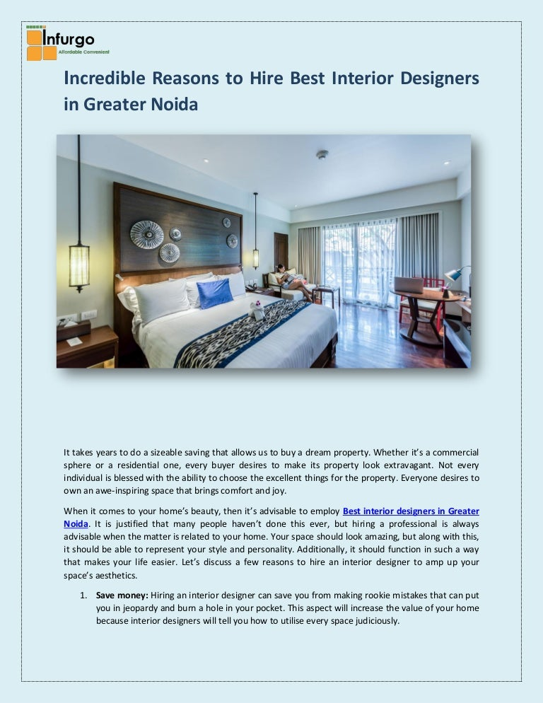 Perfect Reasons To Hire Best Interior Designers In Greater Noida