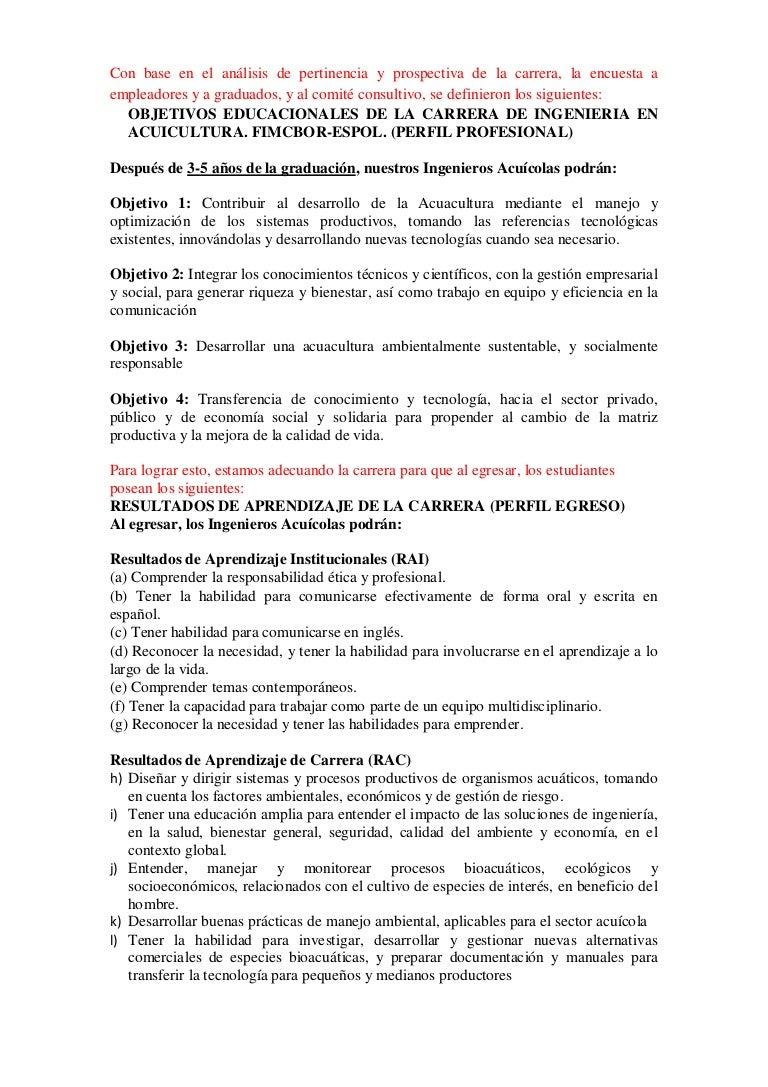 Perfil profesional y de Egreso Ingenieria Acuicola ESPOL