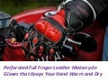 Perforated full finger leather motorcycle gloves that keeps your hand warm and dry