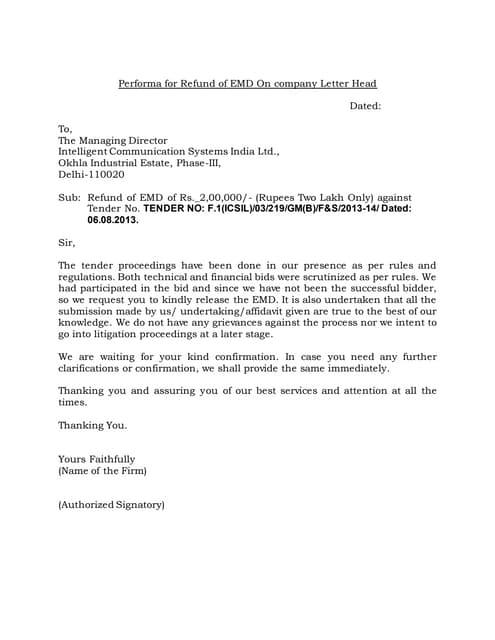 Performa for refund of emd on company letter head1 altavistaventures Choice Image