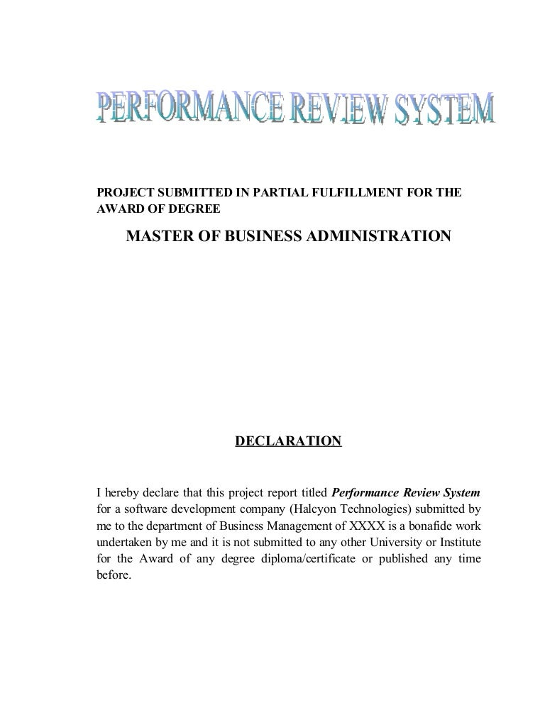 performance review system mba hr project
