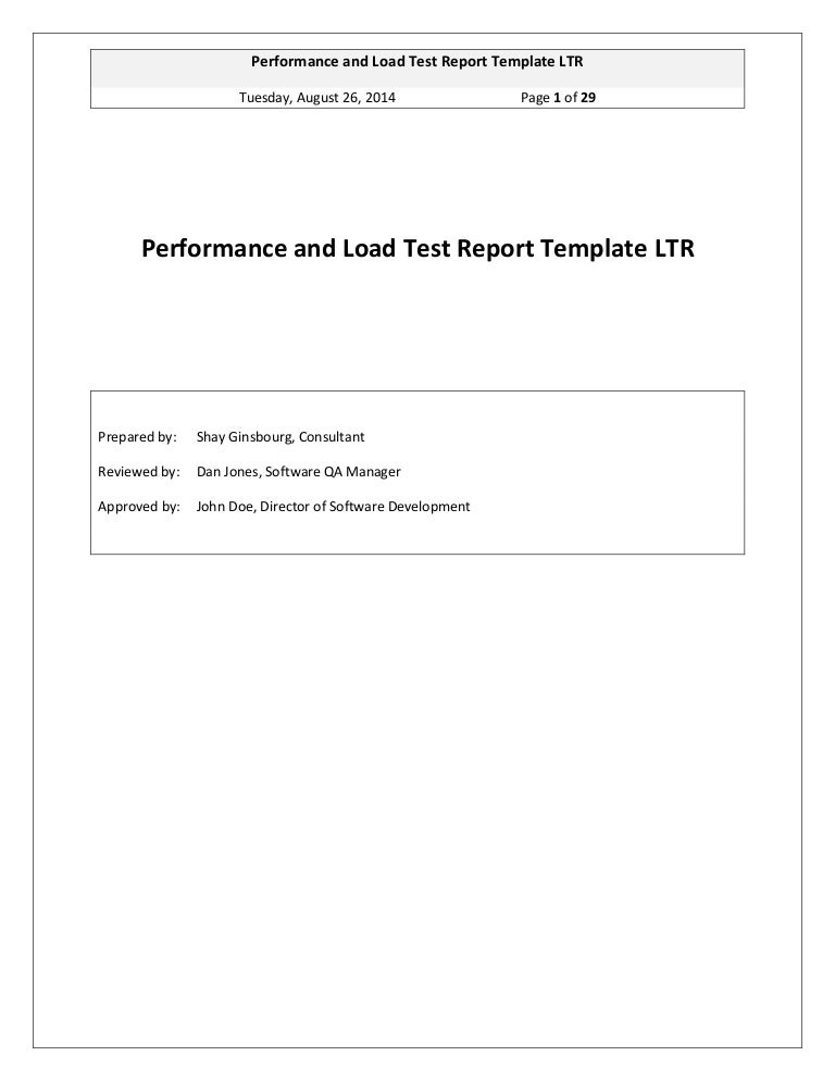 GinsbourgCom  Performance And Load Test Report Template Ltr
