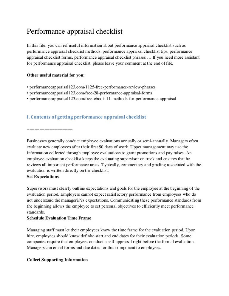 Performance Appraisal Checklist Performanceappraisalchecklistconversiongatethumbnailjpgcb Thesis Statement For Argumentative Essay also Topics For High School Essays  Argumentative Essay Topics For High School