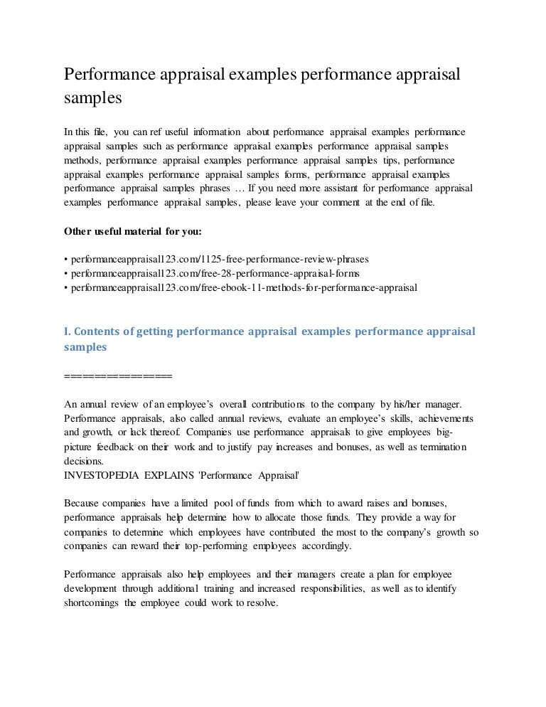 employee performance appraisal examples pdf