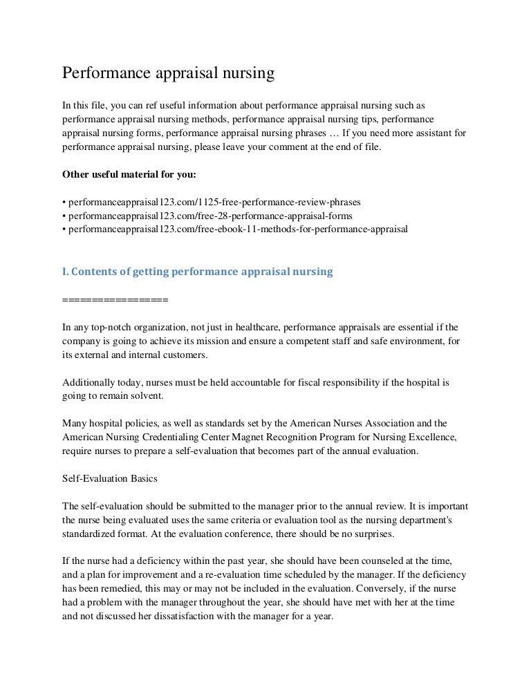 performance appraisal nursing