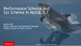 Performance Schema and Sys Schema in MySQL 5.7