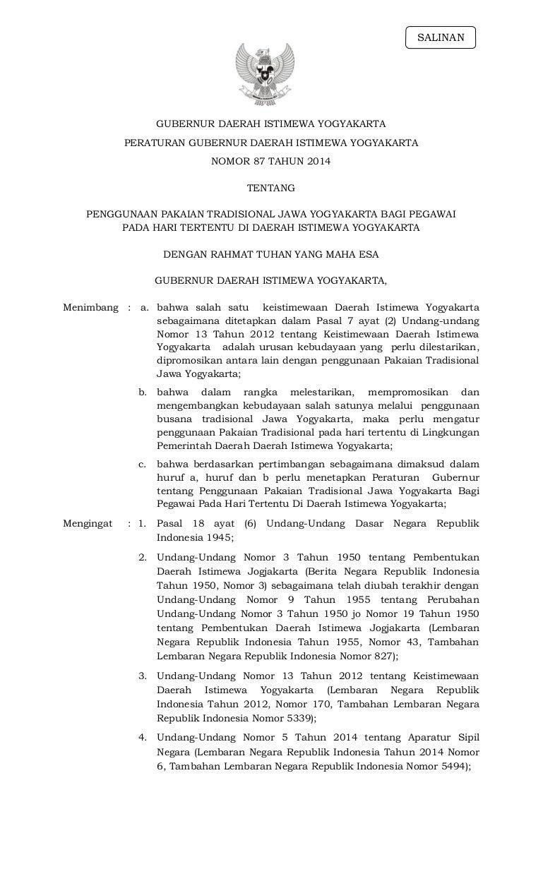 Deskripsi Pakaian Adat Jawa Tengah Dalam Bahasa Jawa