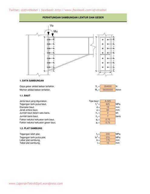 Perhitungan sambungan lentur dan geser balok baja