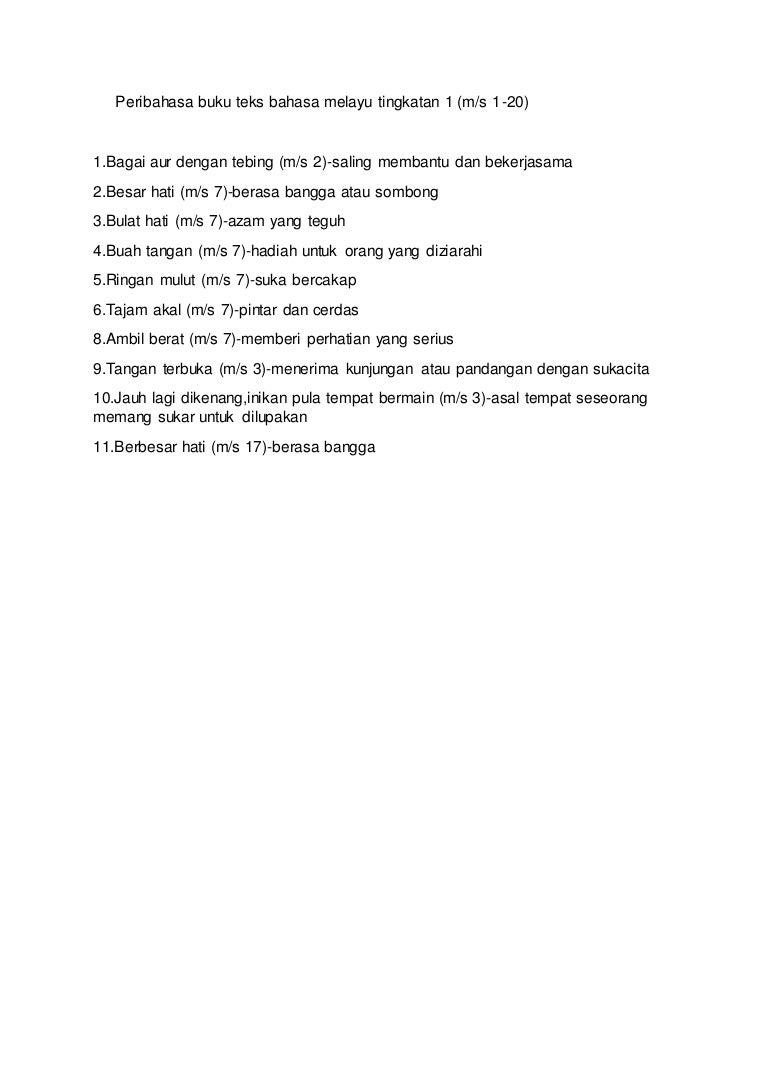 Peribahasa Buku Teks Bahasa Melayu Tingkatan 1
